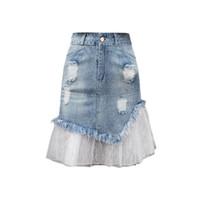 Plus Size Loch Mesh-Patchwork Denim Röcke Frauen-Sommer-hohe Taille A-Linie Fishtail falda mujer moda 2019 Röcke Jeans Saia F514