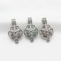 10pcs tono argento fiocco di neve gabbia di perle ciondolo medaglione profumo di olio essenziale diffusore gabbia collana di fascini per ostrica perla