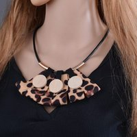 Fashion Leopard Print Ribbon Statement Necklace Bohemian Leather Rope Big Long Pendant Necklace For Women N1520