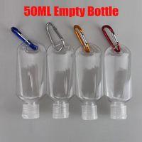 Горячие 50ML Пустые бутылки многоразового с Key Ring Крючок прозрачный пластик дезинфицирующее бутылки для путешествий На складе