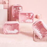 Paillettes rose make up sac mignon impression de fleurs de cerisier sacs de stockage mode doux sac de lavage imperméable organisateur maquillage transparent