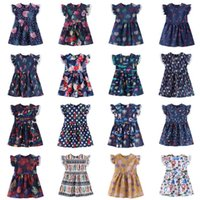 98775ad87c27e Ins Baby Girls Dress Lace Flying Sleeves New Summer Flower Printed Lovely  Cartoon Princess Party Kids Girls Dress MMA1596
