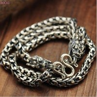 925 чистого серебра ожерелье двойной Дракон головы Тайский Серебряный Vintage грубый чешуя дракона цепную мужские ожерелье для мужчин и женщин