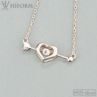 Argent 925 Coeur Flèche collier pendentif pour les femmes avec Zirconium Argent et couleur Rose S925 Bijoux Cadeaux 2020