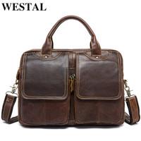 WESTAL men's briefcase leather laptop bag men's genuine leather bag for men bussiness messenger bag men's office briefcase 8002 CJ191201
