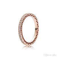 Luxus Mode 18 Karat Rose Gold RING Set Original Box für Pandora 925 Silber Frauen voller CZ Diamant Eheringe Mode-Accessoires