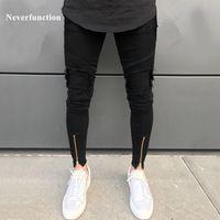 Neverfunction Yüksek Sokak erkekler ripped denim pantolon Delik Hip Hop streç Hem Fermuar motosiklet sıkıntılı skinny biker jeans