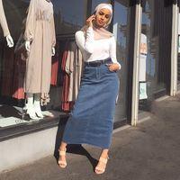 Abbigliamento etnico Abbigliamento Arabo Stretch Denim Bag Skirt Hip Skirt Musulmani Bottoms Turkish Vacation Shopping Casual Islamic