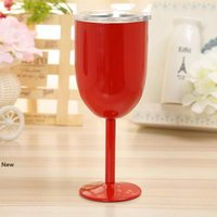 10oz سعرنا كأس الجذعية النبيذ البيض البهلوان الفولاذ المقاوم للصدأ كؤوس النبيذ فراغ معزول كأس القدح الشمبانيا مع شكل غطاء البيض LJJA3315-4