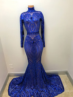 Bling Silver Sequin Long Sleeve Mermaid Royal Blue Prom Dres...