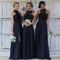 Elegante dunkelblaue Brautjungfernkleider für Hochzeiten Chiffon A-Line High Neck Side Split Formelle Partykleider Spitze Modest Maid Of Honor Dress