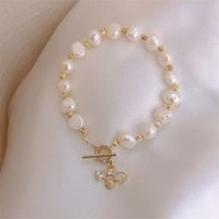 Vintage Luxur Natural Pearl Zircon Gold Bracelet Women Cryst...