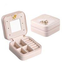 Porta gioielli da viaggio in pelle portatile con specchio cosmetico trucco organizer orecchini Casket a tre livelli scatola di immagazzinaggio migliore regalo