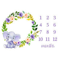 Cartoon Elephant Garland Baby Photography Blanket Background...