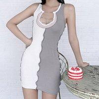 여성 Bodycon Ribbed Dress 섹시한 다이아몬드 V 목 스트라이프 패치 워크 스키니 민소매 피트니스 패션 캐주얼 스트리트웨어 드레스