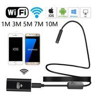 Wifi Endoscope Camera 8 milímetros Lens 1M / 3M / 5M / 7M / 10M 8 LED impermeável HD 720P USB Inspeção Borescopes câmera para iOS do Windows Android