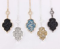 Pave Crystals Morocco Pendant Necklace Long Sweater Chian Mo...