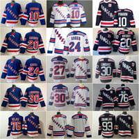 2020 뉴욕 레인저 24 Kaapo Kakko 10 Artemi Panarin 30 Henrik Lundqvist 20 Chris Kreider 93 Mika Zibanejad 76 Brady Skjei Hockey Jerseys