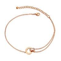 أزياء الفولاذ المقاوم للصدأ خلخال في الكاحل أساور للنساء الساق سلسلة مجوهرات هدية اكسسوارات زركون 081