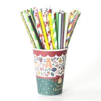 Papier Straws bande colorée vague point solide pour soirée de mariage jus événement Cocktail Pailles à Boire HHA1153