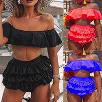 bikinis 2020 mujer Women Swimwear Beach Solid Ruffles Swimsuit Bikini Tankini Set women's swimming suit monokini biquinis plavky