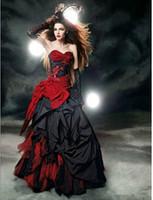 2020 Vestidos de novia góticos rojos y negros Sweetheart Bow Lace Drapeed Tafetán Vintage Vestido de novia Vestido de Noiva Custom Hot Venta