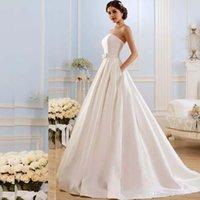 Винтажные свадебные платья без бретелек A Line 2020 с карманами лук стреловидность поезд атласная шнуровка назад свадебные платья
