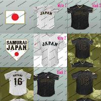 Japón Samurai 16 Shohei Ohtani Blanco Blanco PINTRIPED 100% STITYED MENS MUJERES MUJERES PERSONALES Jerseys de béisbol Libres de béisbol gratis al por mayor