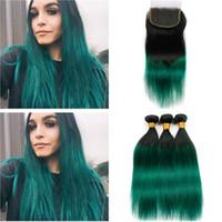 Paquetes de cabello peruano Ombre de color verde oscuro con cierre # 1B / Green Ombre 3bundles rectos con cierre Ombre Green Lace Closure 4x4 with Weaves