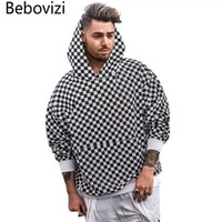 Herren Hoodies Sweatshirts BBOVIZI Schachbrett-Plaid Herbst Winter Streetwear Hip Hop Casual Baumwolle Pullover Skateboard Hoodie