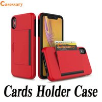 Hybrid Armor Dual Layer Card Holder Defender Cases for iPhon...