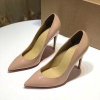 أحمر أسفل أحذية عالية الكعب النساء مصمم براءات الاختراع والجلود أحذية عالية الكعب اللباس الانزلاق على أصابع مدببة النساء أحمر وحيد أحذية