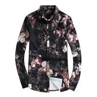Четкий 2018 мужские рубашки Цветочные печати длинный рукав рубашки мужской одежды цветы отпечатанные Праздник рубашки вскользь рубашка мужская 4XL 5XL