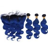Brazylijski Ombre Dark Blue Ludzki Włosy Uszczelnienie z koronki Frontal Closure 13x4 Ciało Wave # 1B / Blue Ombre Virgin Hair Wiązki z frontal