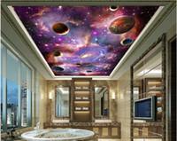 murales del techo del papel pintado 3D con foto personalizada púrpura Universo estrellada Vía Láctea salón decoración del hogar 3d murales del papel pintado para paredes de 3 d