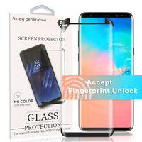 5D protetor de tela para o Samsung S20 Além disso Caso amigável Apoio vidro curvo para Fingerprint Unlock para S10 Nota 10 S9 S8 PLUS, com Box