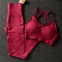 Spor Salonu Kadınlar Için 2 Parça Set Egzersiz Giysileri Spor Sutyen Ve Tayt Kadınlar Için Set Spor Giyim Spor Giyim Atletik Yoga Set36