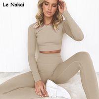 2adet kadınlar uzun kollu dikişsiz yoga üst egzersiz spor bir takım legging setleri esnek jimnastik giyim için belirlenen dikişsiz spor nervürlü