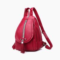 Mochila para mujer Diseñador de cuero de alta calidad Bolso de las mujeres Bolsos de escuela de moda Chica Rojo Mochilas Bolsas de viaje