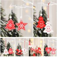12pcs / lot Christmas Tree Pendant Ornamento ciondoli appesi in legno bianco angelo rosso della neve campana Elk Star Home Decorazioni di Natale HH9-A2545