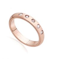 Brand T US New York Titanium Steel Silver Rose Gold love rin...
