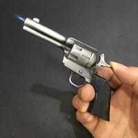 Yeni Varış Hakiki Metal 1851 Tabanca Gun Çakmak Modeli Şişme Rüzgar Geçirmez Çakmak Trompet Simülasyon Modeli Silah Meşalesi