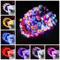 Ayarlanabilir LED Çiçek Taç Light Up askıbezekler Hairband toka Çiçek Başkanı Hoop Kafa Headwears Düğün Chirstmas Parti Dekoru hediye FFA3800a