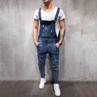 Jeans de l'homme 2021 Fashion Hélaulage Combinaisons Jumpseuits Street Derstoled Hole Denim Bib pour homme Pantalon Taille M-3XL VE7