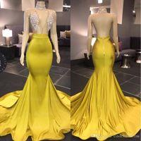 Novità del 2020 Yellow Prom Dresses Sexy scollo a V senza maniche Mermaid Halter aperto indietro sweep treno formale abito da sera africano