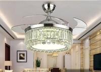 rmamary потолочный вентилятор K9 LED прозрачный кристалл потолочные вентиляторы свет 110-220V вентилятор 42 дюймов / 108 см пульт дистанционного управления 3 цвета температура освещения