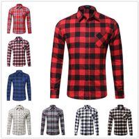 الرجال منقوشة قميص الربيع الفانيلا عارضة جيب قميص الرجال قمصان طويلة الأكمام قميص أوم القطن الذكور تحقق القمصان