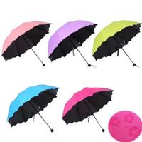 Yeni Lady Prenses Sihirli Çiçekler Dome Şemsiye Güneş / Yağmur Katlanır Şemsiye prain kadınlar Kadınlar Için şeffaf şemsiye pirinç knuckles 6 Renkler