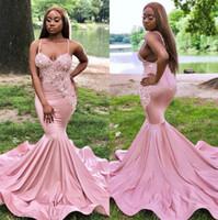 Gelinlik Modelleri 2019 Allık Pembe Mermaid Uzun Boncuk Kristaller Sweep Tren Abiye giyim Vestidos De Dresses Siyah Kız Çift Gün Custom Made