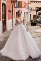 저렴한 화이트 오간자 긴 소매 A 라인 비치 웨딩 드레스 신부 가운 레이스 새해 공주 봄 웨딩 드레스 다 SPOSA vestito